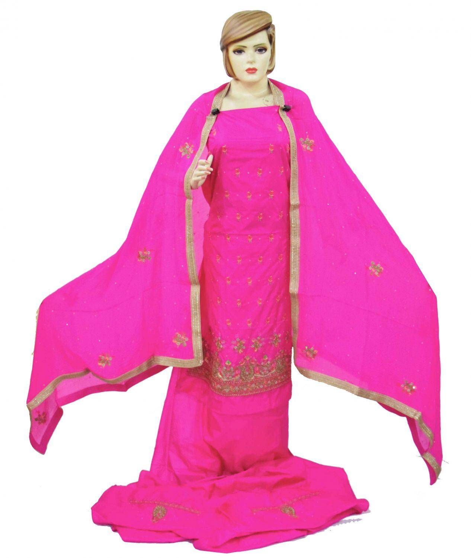Rani Magenta Silk Hand Embroidered Bridal Punjabi Salwar Kameez Suit H0199 1