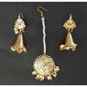 Cone Earrings Golden Tikka Set J0505