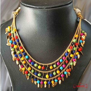 Tripple Chain Necklace with Moti and Patti J0516