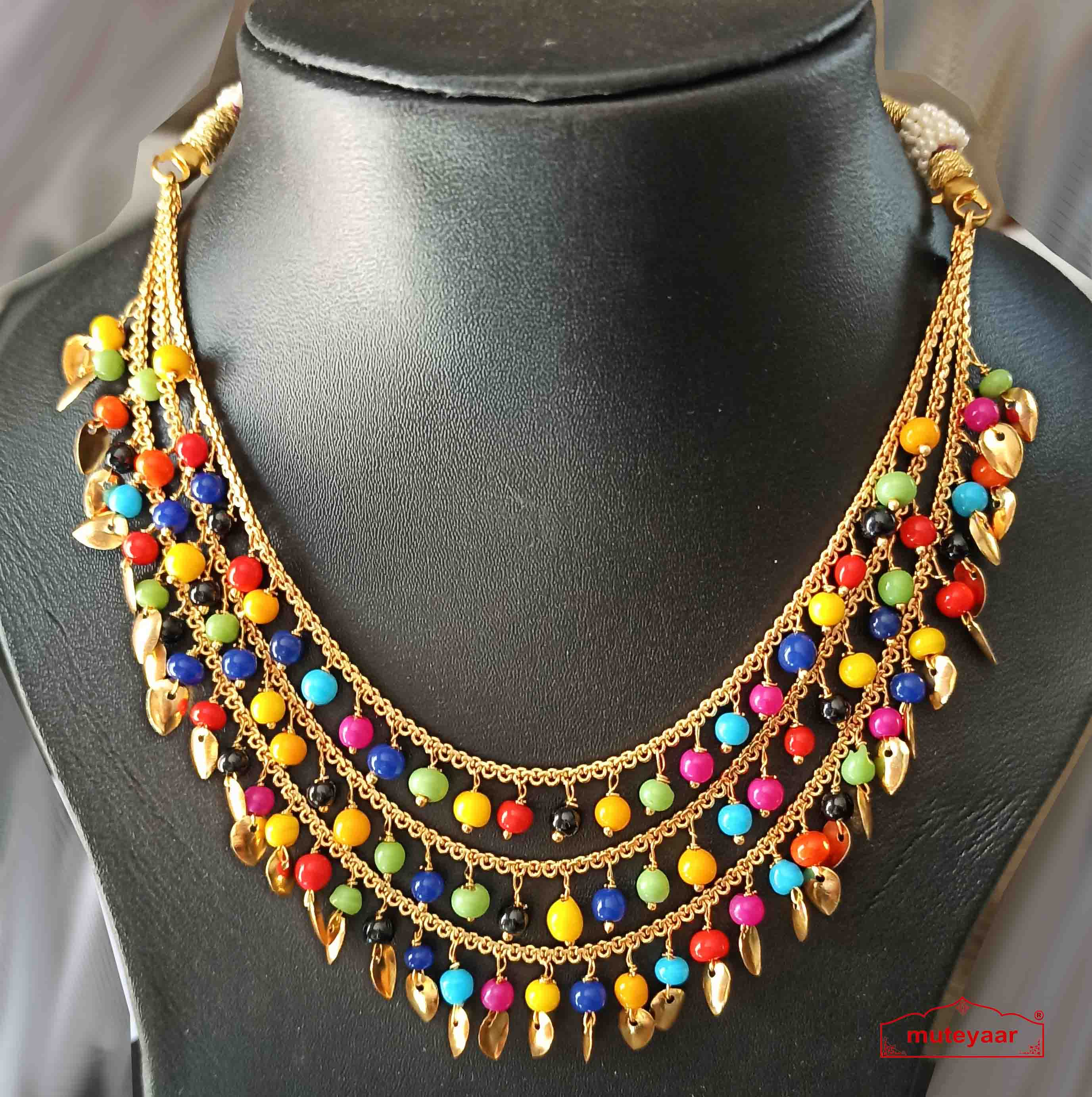 Tripple Chain Necklace with Moti and Patti J0516 1