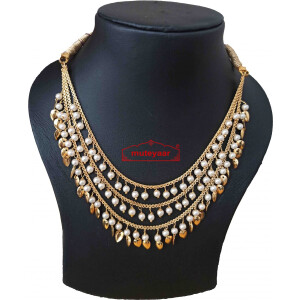 Tripple Chain Necklace with Moti and Patti J0516 – white