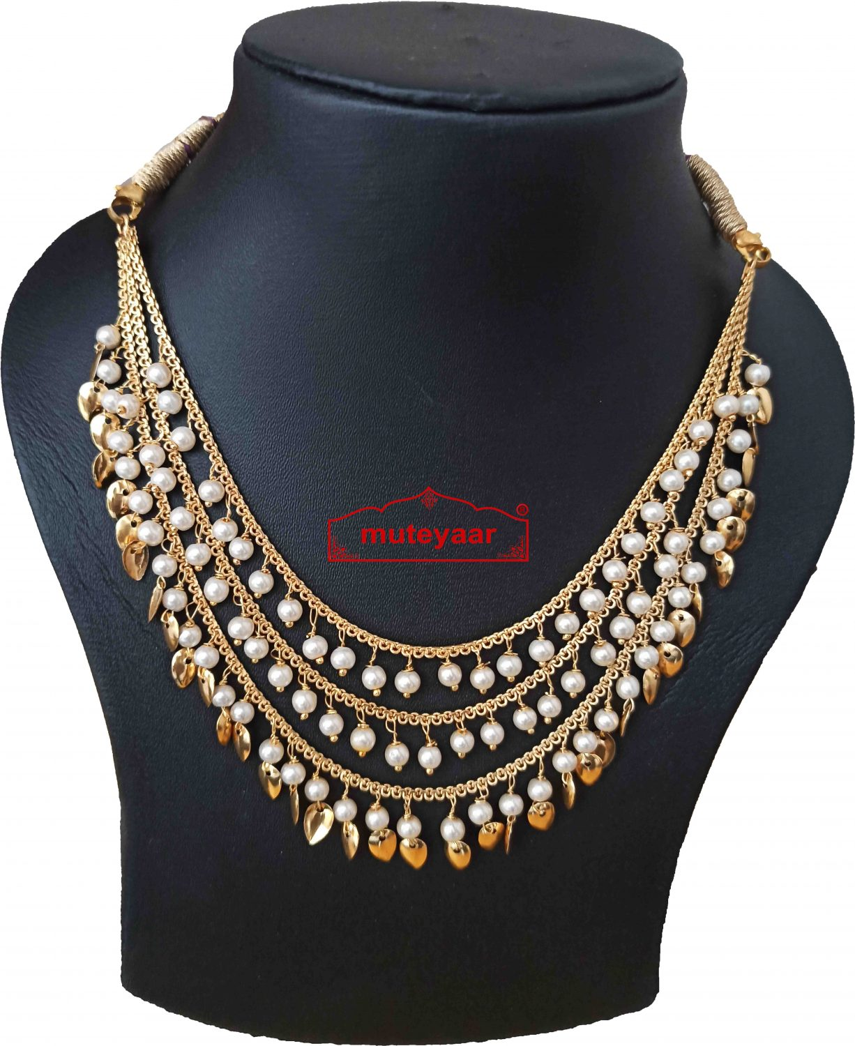 Tripple Chain Necklace with Moti and Patti J0516 3