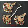 Multicolour Jadau Tikka Earrings Set J0517