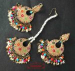 Multicolour Jadau Tikka Earrings Set J0517