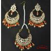 Kundan Tikka Earrings Set with Orange Beads J0518