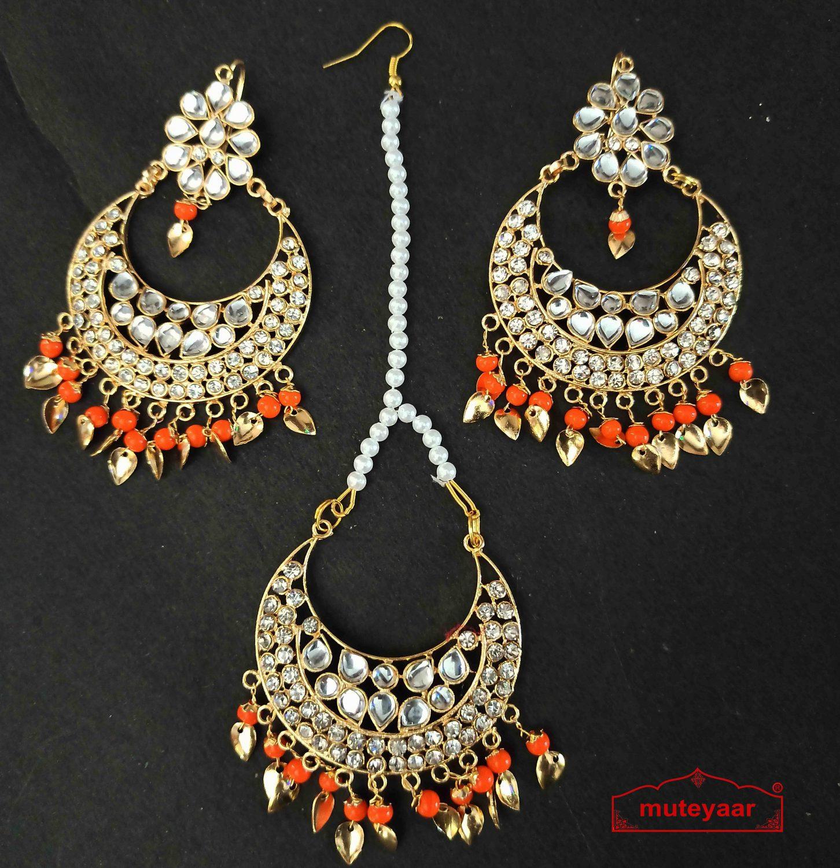Kundan Tikka Earrings Set with Orange Beads J0518 1