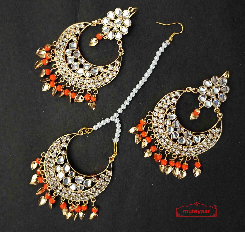 Kundan Tikka Earrings Set with Orange Beads J0518 2