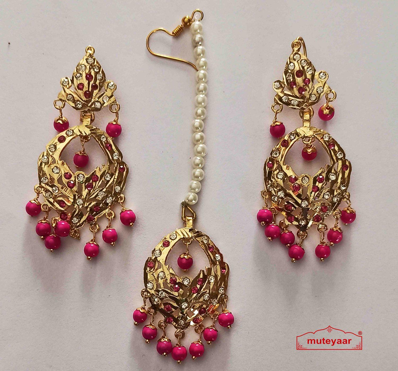 Small Jadau Tikka Earrings Set J0519 1