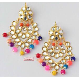 Kundan Earrings with Multicolour Beads J0524