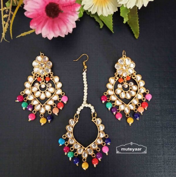Kundan Tikka Earrings Set J0524