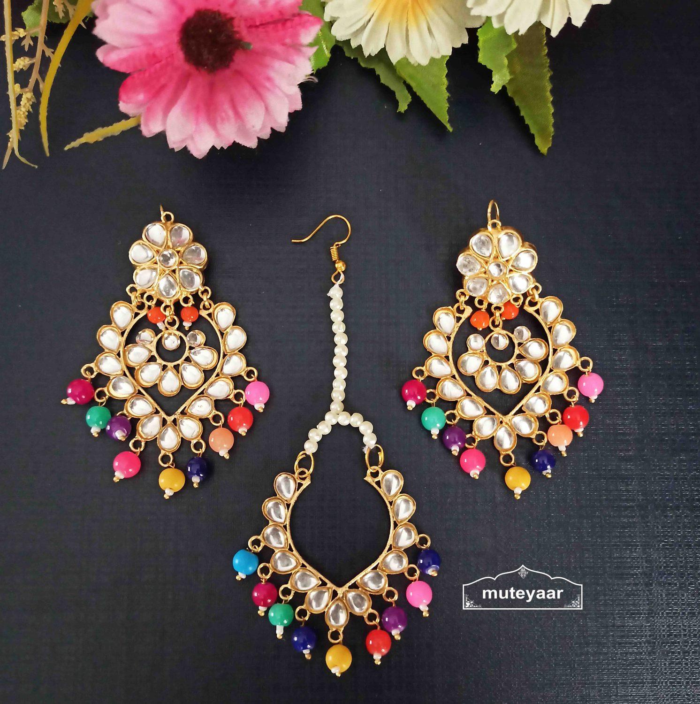 Kundan Tikka Earrings Set with Multicolour Beads J0524 1