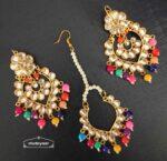 Kundan Tikka Earrings Set with Multicolour Beads J0524