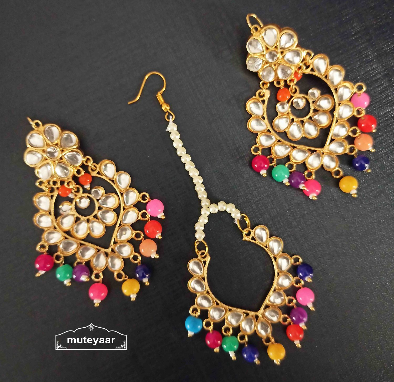 Kundan Tikka Earrings Set with Multicolour Beads J0524 2