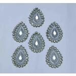 Silver Zircon Stones Embroidered Motif for use on Lehenga, kurti etc. MT0037