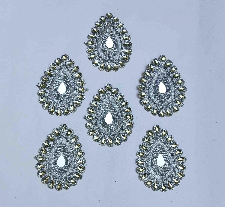 Silver Zircon Stones Embroidered Motif for use on Lehenga, kurti etc. MT0037 1