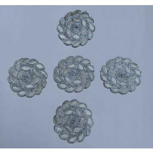 Silver Zari Embroidered Motif for use on Lehenga, kurti etc. MT0040
