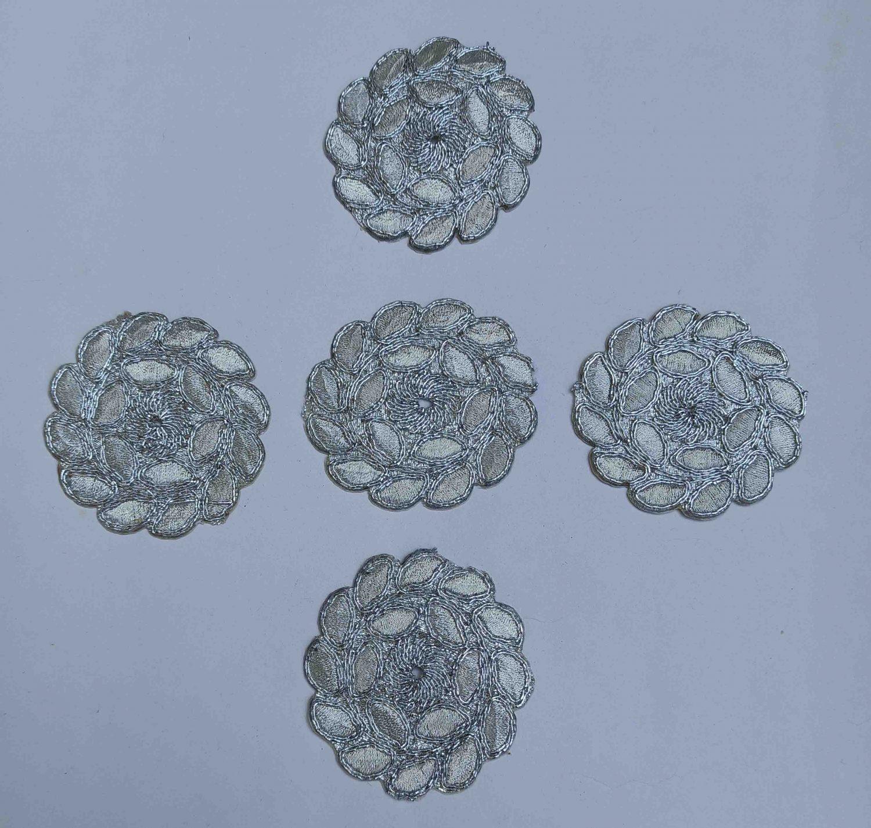 Silver Zari Embroidered Motif for use on Lehenga, kurti etc. MT0040 1