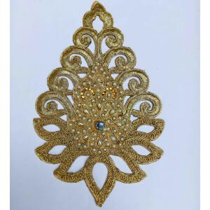 9″ Long Golden Motif for Lehenga Moti Work Embroidered MT0042