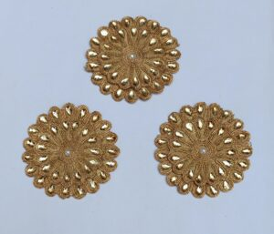 Antique Golden Embroidered kundan work Motif MT0043
