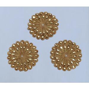 Antique Golden Embroidered kundan work Motif MT0043