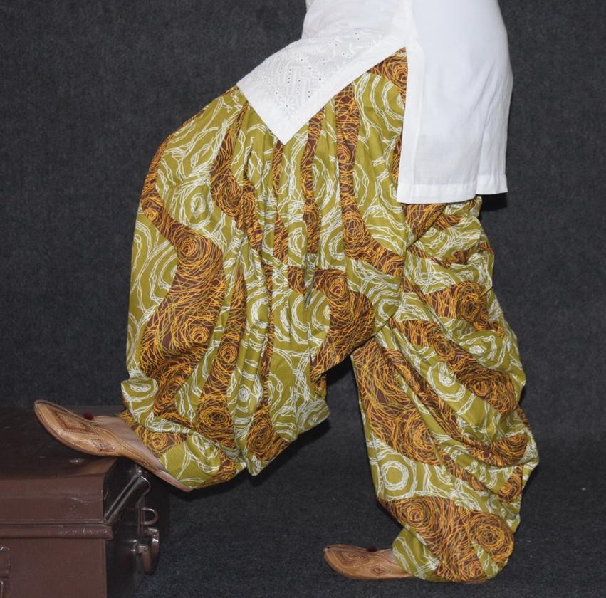 Brown Printed Cotton Patiala Salwar PPS120 1