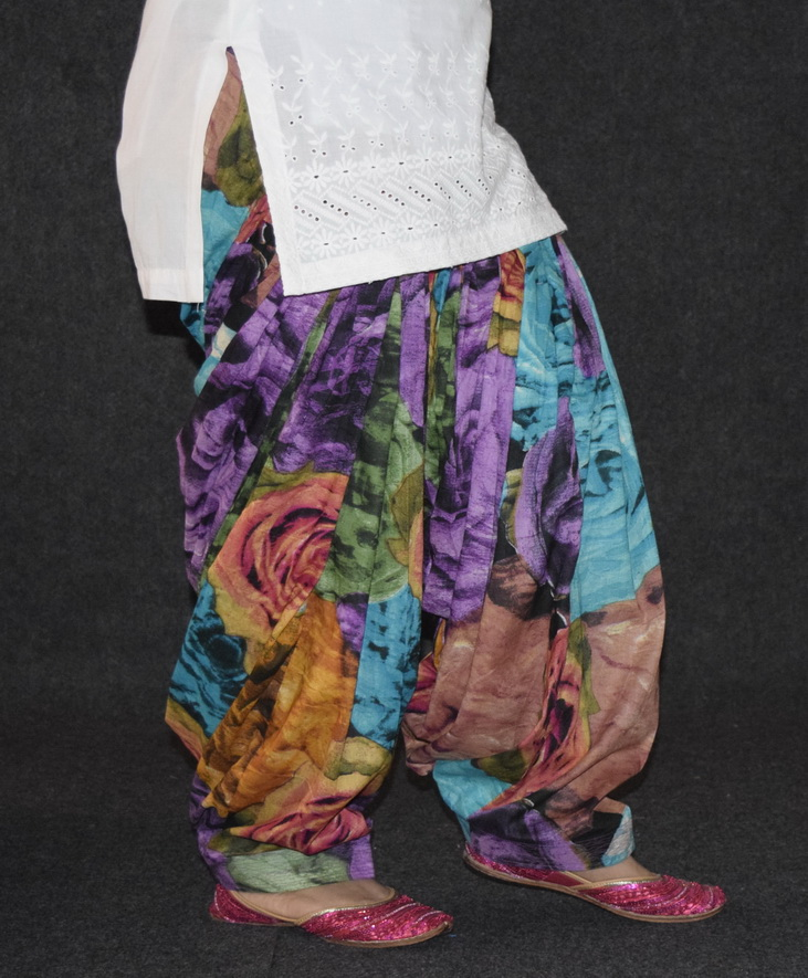 Big Roses Multicolour Cotton Printed Patiala Salwar PPS121 1