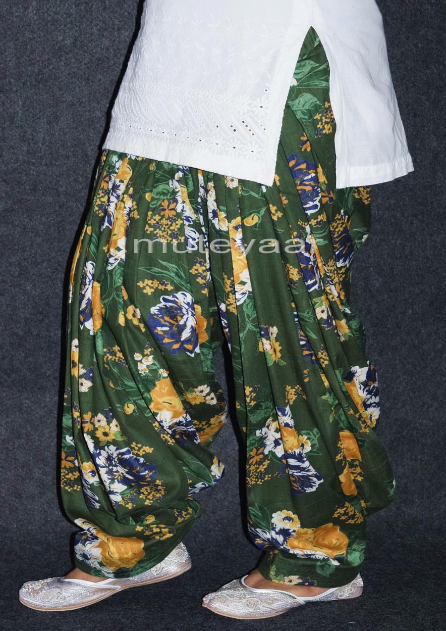 Dark Green Printed Cotton Patiala Salwar PPS152 1