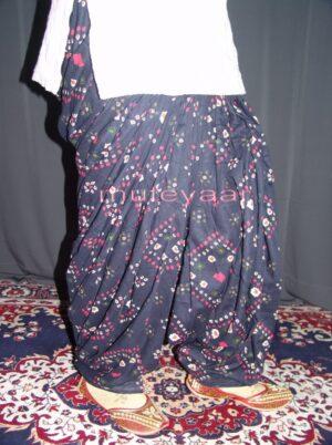 Dark Blue Printed 100% Pure Cotton Full Patiala Salwar PPS015