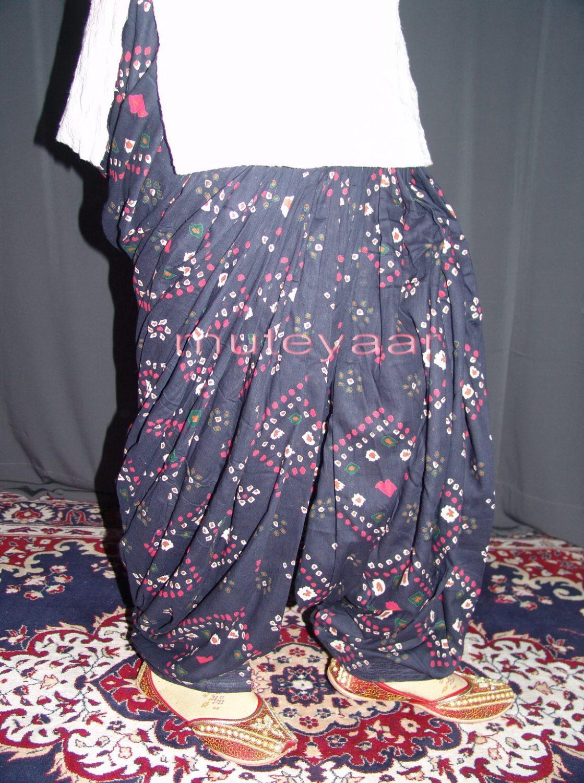 Dark Blue Printed 100% Pure Cotton Full Patiala Salwar PPS015 1