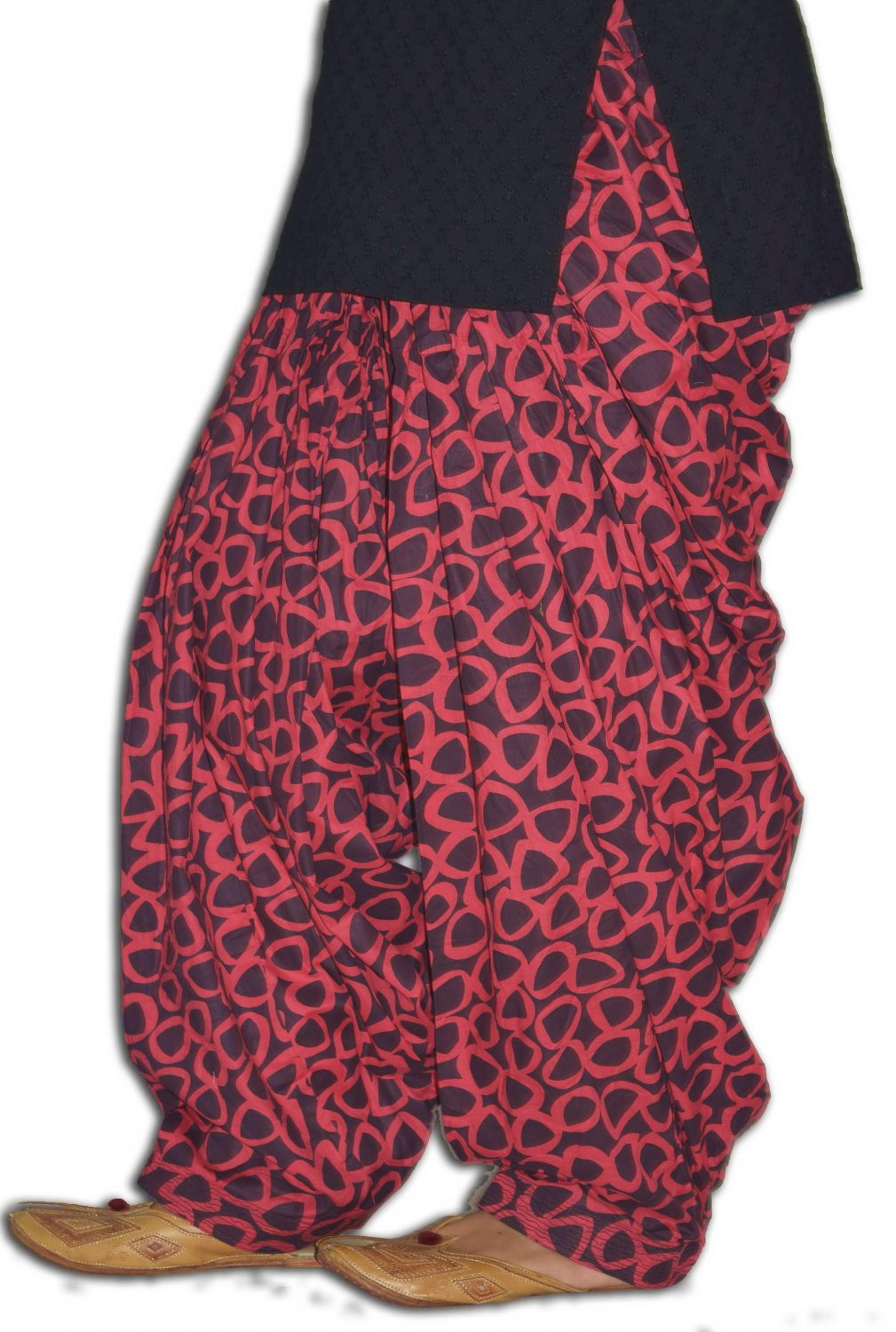 Red Black Printed 100% Pure Cotton Full Patiala Salwar PPS179 1