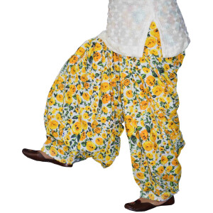 Yellow Flowers on White Printed Patiala Salwar PPS231