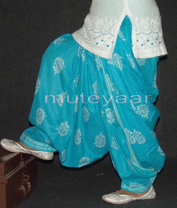 Light Blue Cotton Printed Patiala Salwar PPS77 1