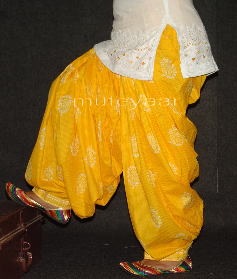 Yellow Pure Cotton Printed Patiala Salwar PPS87 1