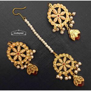 Jadau Dakh Earrings Tikka Set J0528