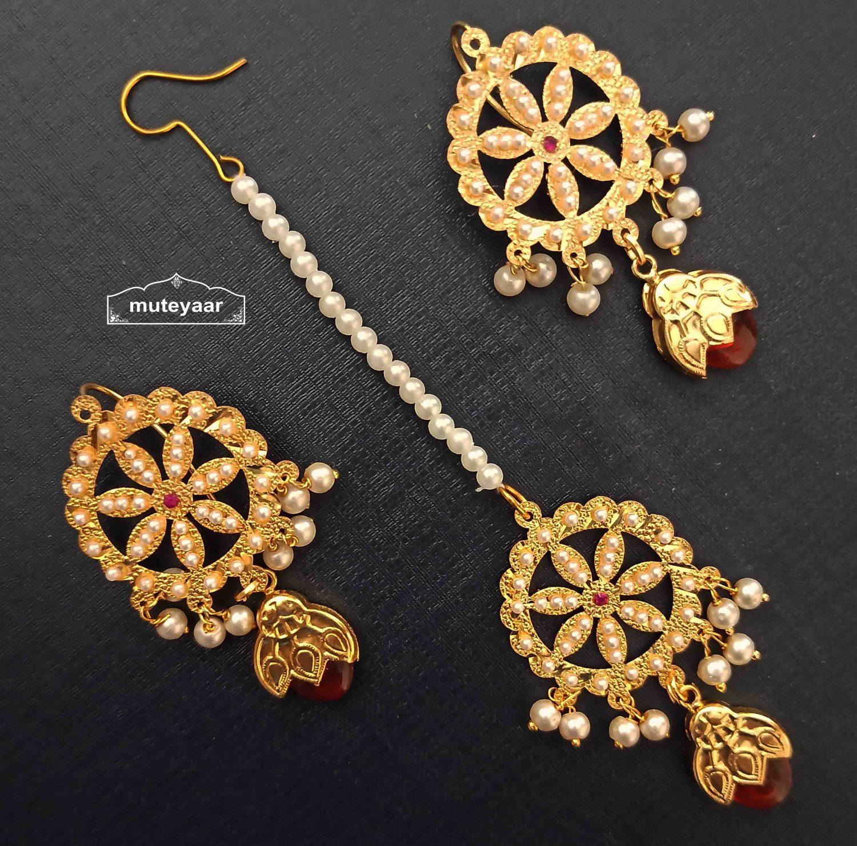Jadau Dakh Earrings Tikka Set J0528 1