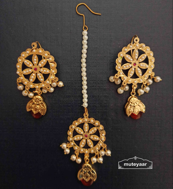 Jadau Dakh Earrings Tikka Set J0528 2
