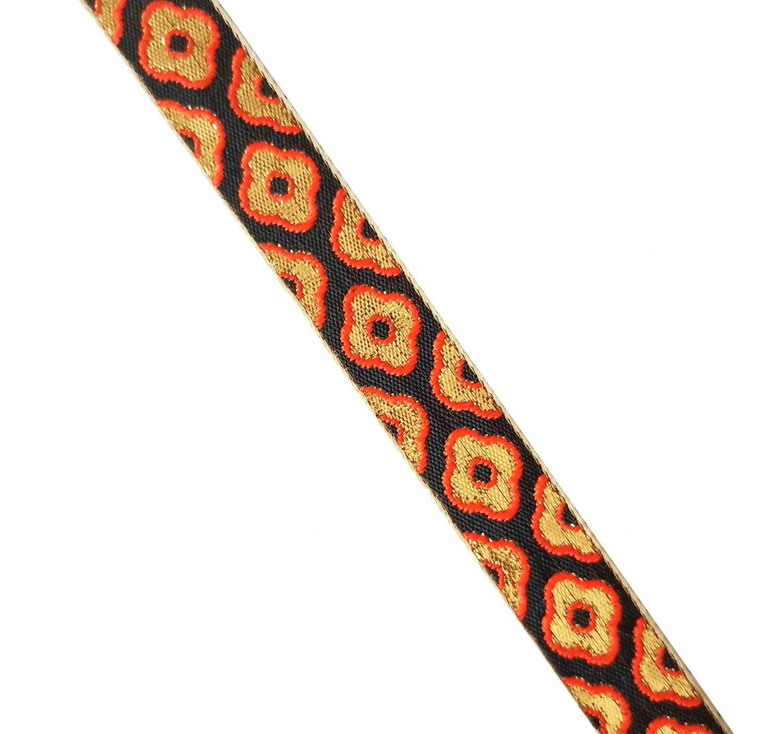 Black Orange Gold Lace 1 inch wide Kinari Roll of 9 Mtr. LC215 1