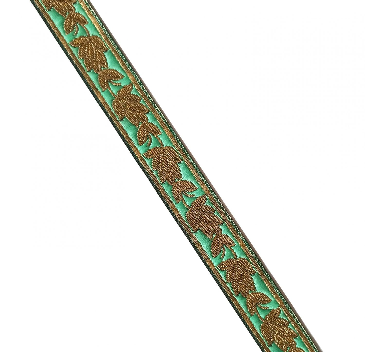 Sea Green Gold Lace 20 mm wide Kinari Roll of 9 Mtr. LC220 1