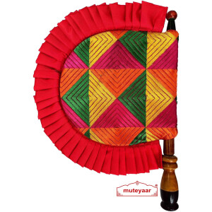 Phulkari Pakhi Hand Fan with Multicolour Embroidery T0263