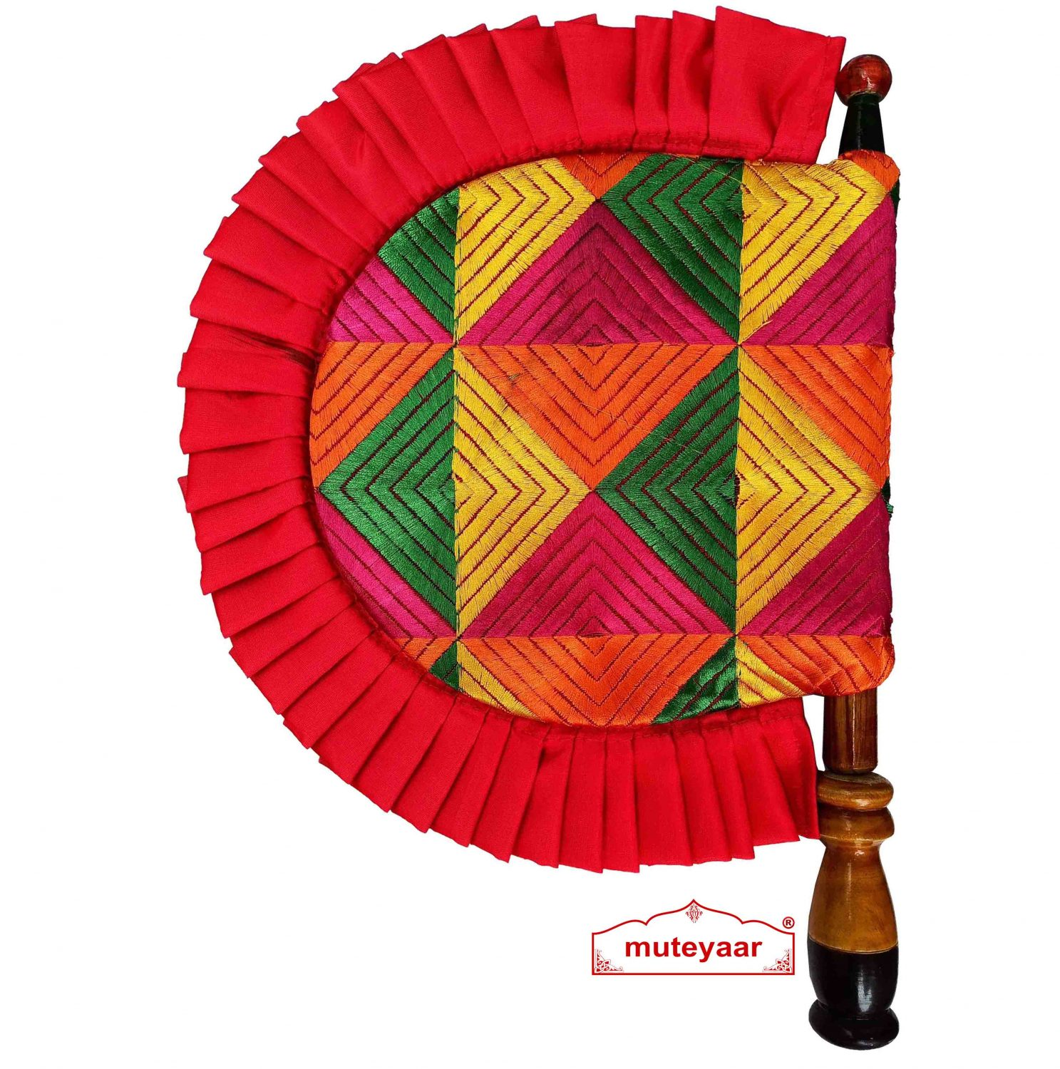 Phulkari Pakhi Hand Fan with Multicolour Embroidery T0263 1