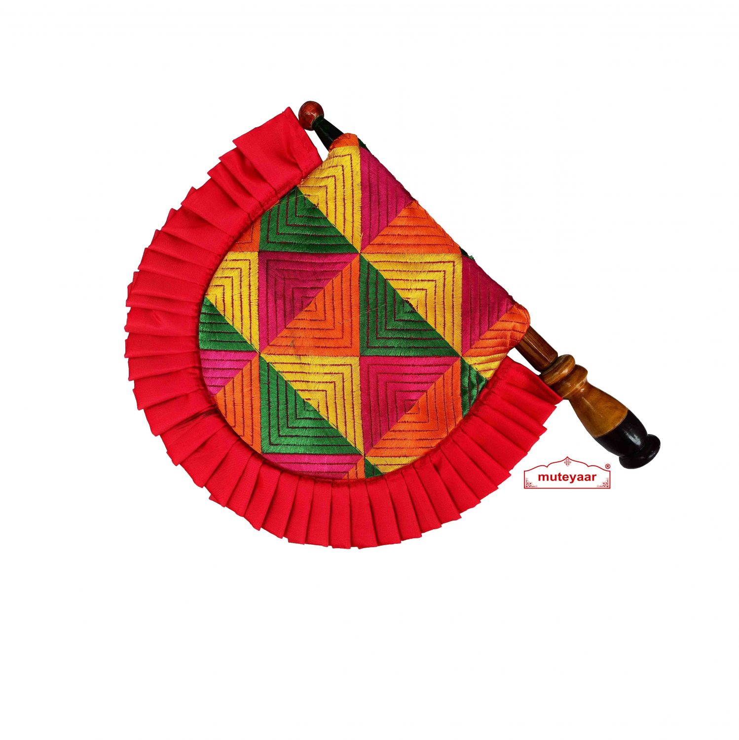 Phulkari Pakhi Hand Fan with Multicolour Embroidery T0263 2