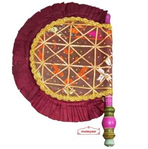 Old Phulkari Bagh Pakhi Punjabi Traditional Hand Fan T0264