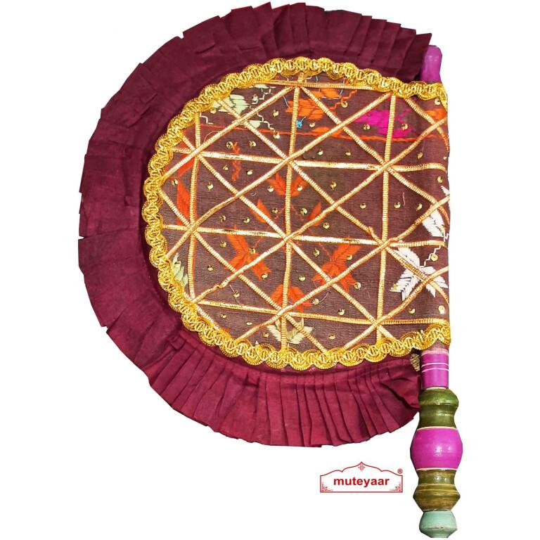 Old Phulkari bagh Pakhi hand fan T0264