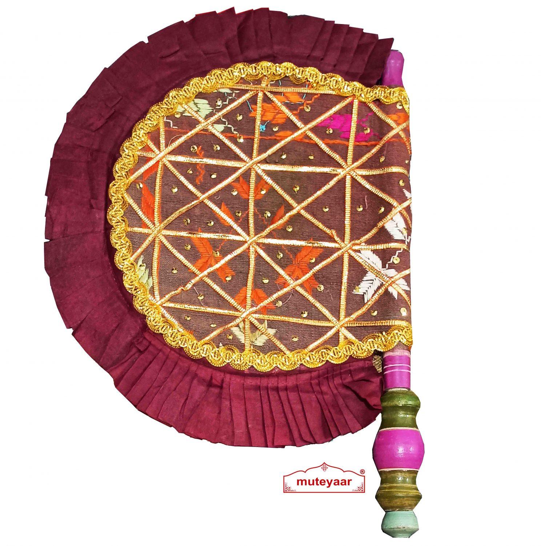 Old Phulkari Bagh Pakhi Punjabi Traditional Hand Fan T0264 1