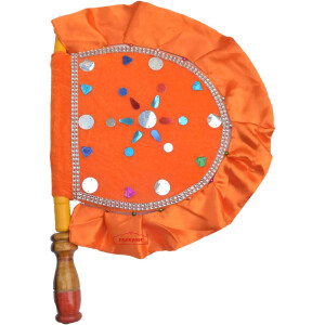 Orange Designer Pakhi Hand Fan T0265