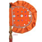 Orange Satin Velvet Pakhi Hand Fan T0278
