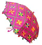 Magenta Phulkari Umbrella for Punjabi Wedding UMB01