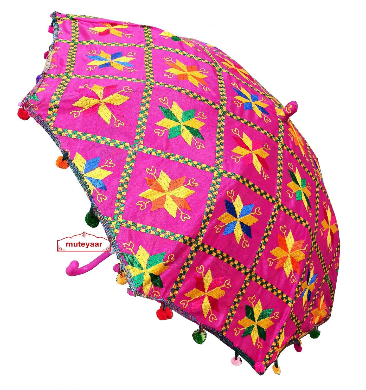 Magenta Phulkari Umbrella for Punjabi Wedding UMB01 1