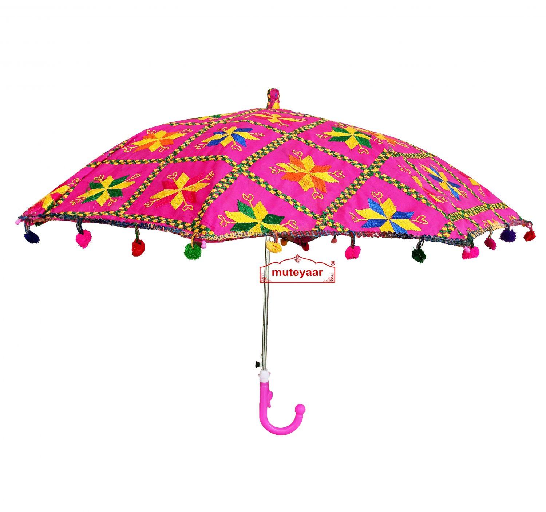 Magenta Phulkari Umbrella for Punjabi Wedding UMB01 2