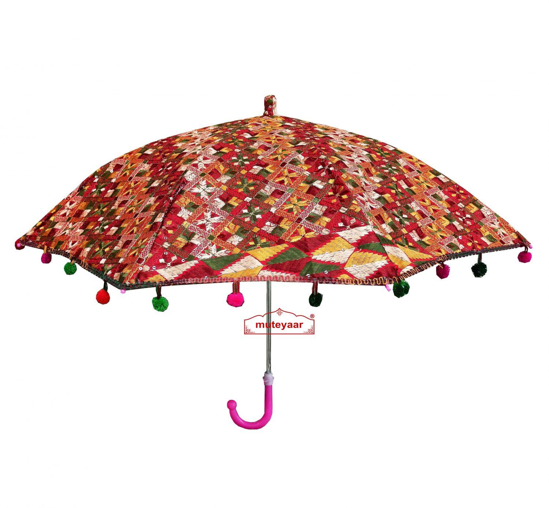Maroon Phulkari Umbrella Decorative Chhatri UMB02 1